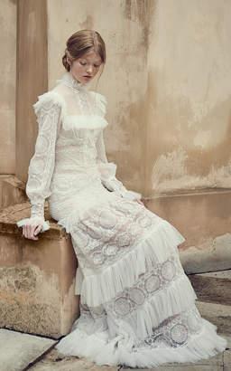 Costarellos Bridal Mock-neck Ruffled Mesh Dress