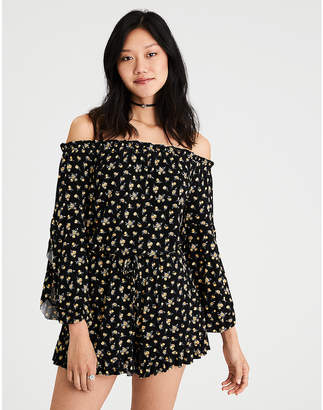 American Eagle AE Knit Off-The-Shoulder Romper