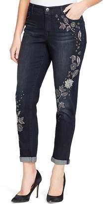 Bandolino Women's Karyn Embroidered MidRise Slim Boyfriend Jeans