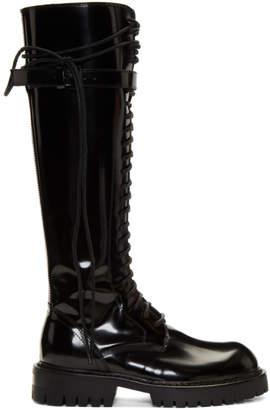 Ann Demeulemeester SSENSE Exclusive Black Patent Abrasivato Boots