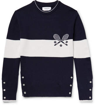 Thom Browne Slim-Fit Intarsia Cashmere Sweater - Men - Navy