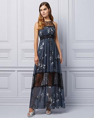 Le Château Floral Lace & Chiffon Halter Gown