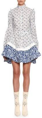 Alexander McQueen Victorian Floral Peplum Mini Dress