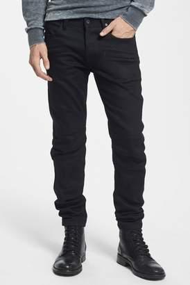 Hudson Blinder Skinny Fit Moto Jeans (Raw Black)