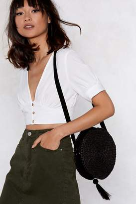 Nasty Gal WANT Round of Applause Straw Crossbody Bag