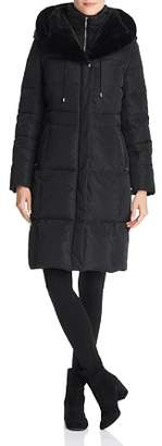 Cole Haan Zip-Front Puffer Coat with Faux Fur-Lined Hood