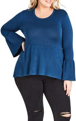 City Chic Bell Sleeve Peplum Sweater