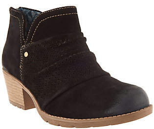 Earth Origins Suede Booties w/ PerforatedRuching- Amanda