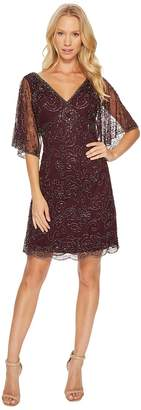 Adrianna Papell Fully Beaded Cocktail Dress with Bat Wing Sleeves Women's Dress