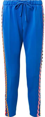 Mira Mikati Rickrack-trimmed Stretch-cotton Jersey Track Pants - Bright blue