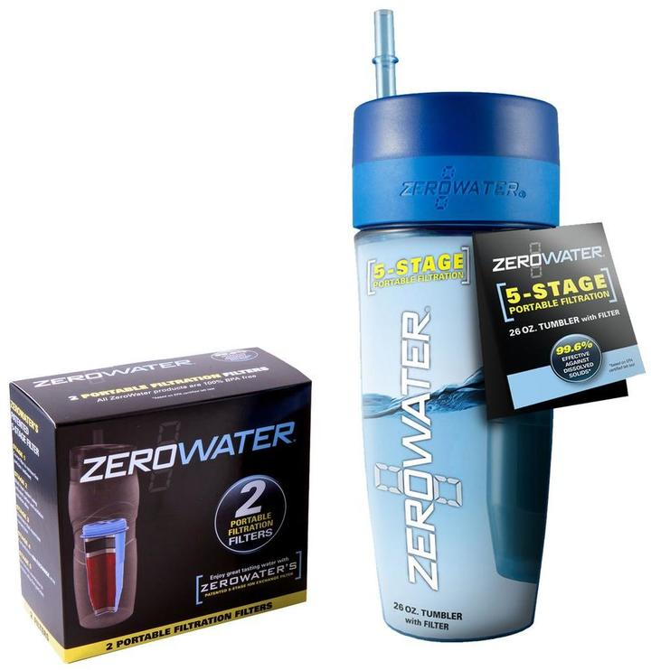 Zero Water Travel Bottle Tumbler with 2-Pack Filters