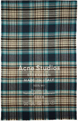 Acne Studios Navy and White Cassiar Check Scarf