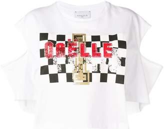 Gaelle Bonheur cut out sleeves printed T-shirt