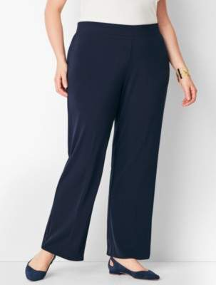 Talbots Plus Size Matte Jersey Straight-Leg Pants