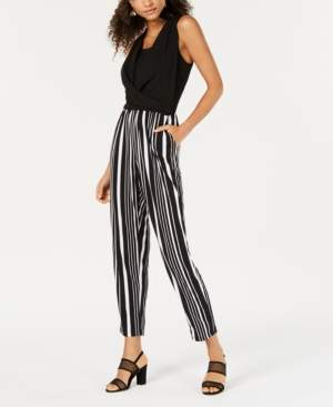Bar III Draped-Neck Striped Jumpsuit, Created for Macy's