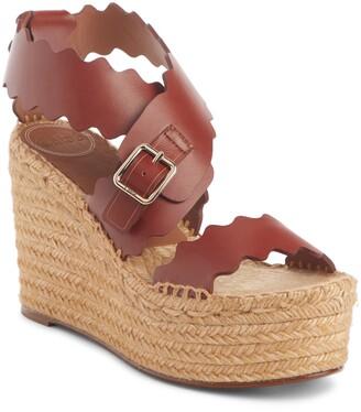 Chloé Lauren Scalloped Wedge Platform Sandal