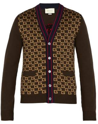 Gucci Gg Intarsia Wool Cardigan - Mens - Brown Multi