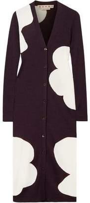 Marni Ribbed Intarsia Wool Cardigan