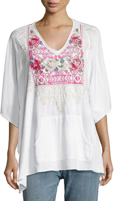 JWLA For Johnny Was Embroidered Pocket Poncho, White $119 thestylecure.com