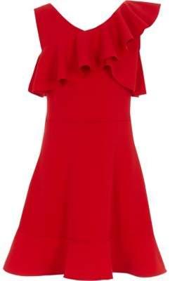 River Island Girls red one shoulder frill skater dress
