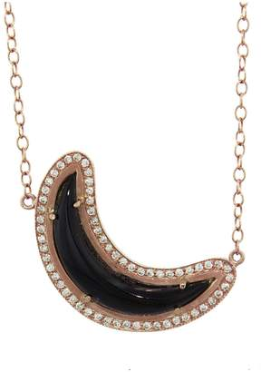 Andrea Fohrman Onyx and Diamond Crescent Moon Necklace