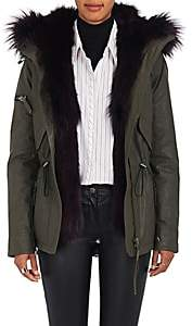 SAM. Women's Mini Luxe Limelight Fur-Lined Parka-Army Green Size S
