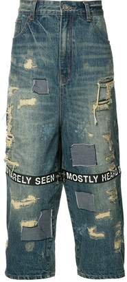 Mostly Heard Rarely Seen distressed cropped jeans