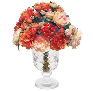 Pottery Barn Faux Mixed Rose Arrangement in Glass Vase