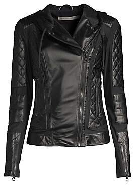 Blanc Noir Women's Voyage Hooded Leather Moto Jacket