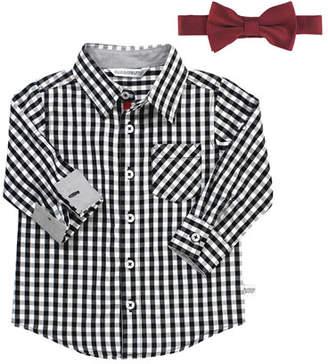 RuffleButts Boy's Gingham Shirt w/ Bow Tie, Size 3-24 Months
