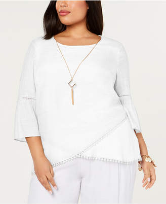 JM Collection Plus Size Crossover-Hem Necklace Top