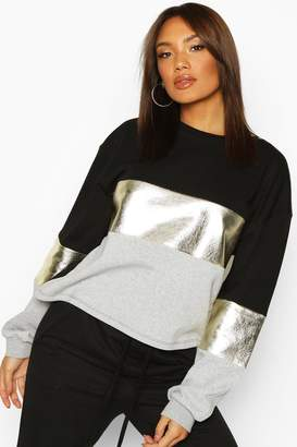 boohoo Foil Panel Colour Block Sweat