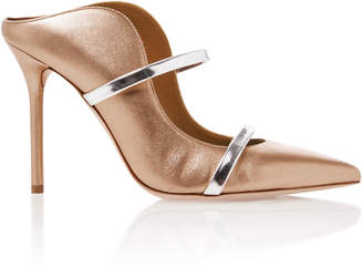 Malone Souliers by Roy Luwolt Maureen Gold Leather Mules
