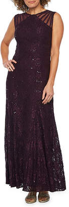 R & M Richards Sleeveless Sequin Lace Evening Gown