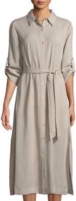 T Tahari Button-Down Collared Dress w/ Self-Tie Waist