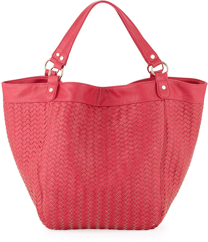 Neiman Marcus Faux-Leather Woven Tote, Pink