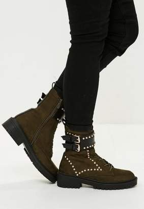 Missguided Khaki Double Buckle Studded Ankle Boots