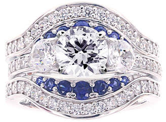 FINE JEWELRY Diamonart Cubic Zirconia and Lab-Created Blue Sapphire Sterling Silver Engagement Ring and Enhancer
