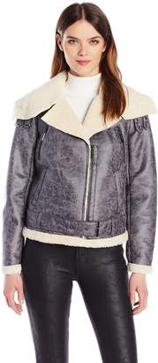 Kenneth Cole New York Women's Faux Shearling Jacket with Asymmetrical Zipfront