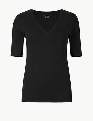 Marks and Spencer Pure Cotton V-Neck Short Sleeve T-Shirt
