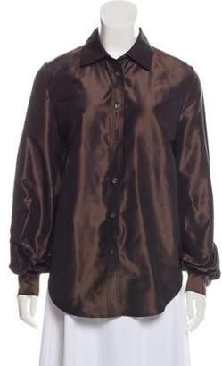 Isaac Mizrahi Silk Collared Top
