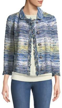 St. John Chelsea 3/4-Sleeve Tweed Knit Jacket