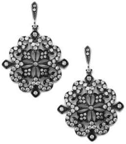Effy 14K White Gold & Diamond Lace Drop Earrings