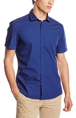 Esprit Men's 50S AOP Poplin Slim Fit Short Sleeve Casual Shirt