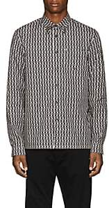 Prada Men's Studded Geometric-Print Cotton Shirt-Md. Red