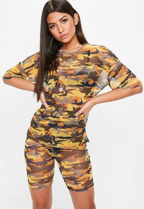Missguided Camo Mesh Cropped T Shirt