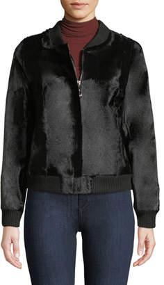 Belle Fare Goat Fur Bomber Jacket