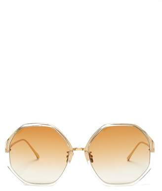 Linda Farrow Oversized Hexagonal Frame Sunglasses - Womens - Dark Orange