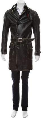 DSQUARED2 Distressed Leather Coat
