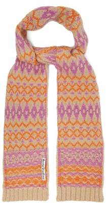 Acne Studios Fair Isle Wool Scarf - Womens - Pink
